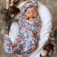 Snuggle Hunny Kids - Vintage Blossom Jersey Wrap and Topknot Set