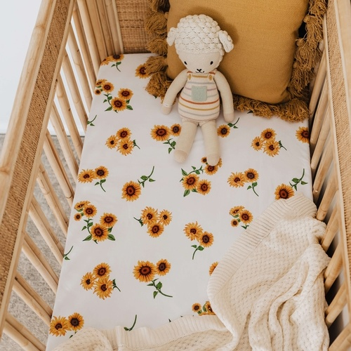 Snuggle Hunny Kids - Sunflower Fitted Cot Sheet